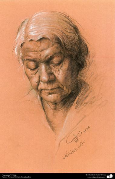 イスラム美術(キャンバス油絵、モレテザ・カトウゼイアン画家の「母親」(1986年)