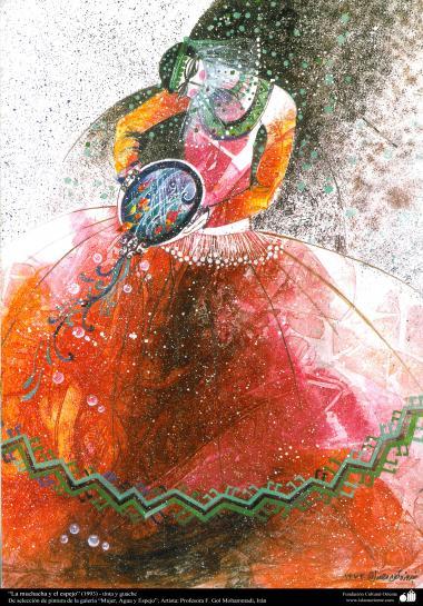 """هنراسلامی - نقاشی - جوهر و رنگ کاری با رنگی که در آب حل شده و با عسل و صمغ امیخته شده - انتخاب نقاشی از گالری """"زنان، آب و آینه"""" - اثر استاد گل محمدی - نام اثر : """"دختر و آینه"""" - (1993)"""