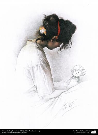 イスラム美術 -モレテザ・カトウゼイアン氏によるキャンバス採油の絵画 - 「娘と人形」(2002年)