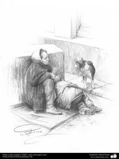 """Woman and child beggars"" (2002) - pen on paper - Professor Morteza Katuzian"