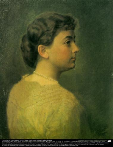 """Profile of a European woman"" (1903) - Oil on canvas - Artist: Kamal ol-Molk"