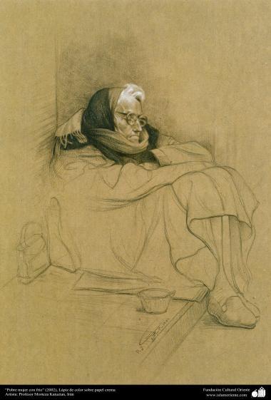 """Poor woman cold"" (2002) - Realistic Painting - pen on paper - Artist: Prof. Morteza Katuzian ."
