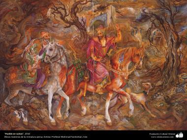 """People in ruins"" 2010 - Masterpieces of Persian miniature - Artist: M. Farshchian"