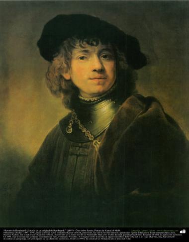 """""""Retrato de Rembrandt (Estudo de um original de Rembrandt)"""" (1897) - Óleo sobre tela; Pintura de Kamal ol-Molk"""