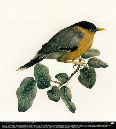 Um pássaro (1902); Óleo sobre tela. Artista: Kamal ol-Molk