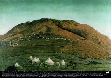 """View of the Palace of Nasiriyah, Hessar Sorkh"" (1886) - Persian painting - Artist: Kamal ol-Molk"