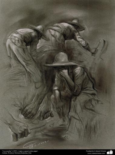 """La cosecha"" (1997) - Lápiz y pastel sobre papel, Artista: Profesor Morteza Katuzian, Irán"