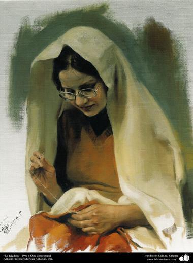 """The weaver"" (1985) - Realistic Painting; Oil on canvas, Artist Professor Morteza Katuzian."