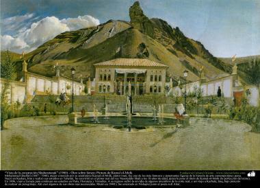 """""""Vista de la construción Shahrestanak"""" (1900) - Óleo sobre lienzo; Pintura de Kamal ol-Molk"""