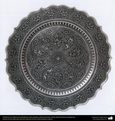 """Иранское искусство - Гравировка металла, """"Галам Зани"""" (тиснение) - Серебряная тарелка - 100"""