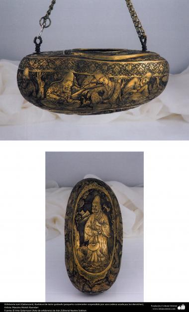 Ourivesaria iraniana (Qalamzani), Kashkoul de latão em relevo (pequeno recipiente suspenso por uma corrente usada por dervixes), Artista: Mestre Mahdi Alamdari - 121