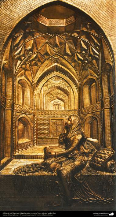 Iranian art (Qalamzani), Embossed copper Frame, Artist: Master Rajabali Raee - 127