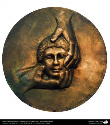 Ourivesaria iraniana (Qalamzani), Quadro de cobre em relevo, Artista: Mestre Rajabali Raee - 128