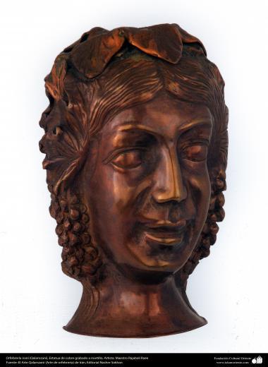 Ourivesaria iraniana (Qalamzani), Estatua de cobre gravada a martelo, Artista: Mestre Rajabali Raee - 129