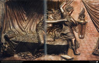 Ourivesaria iraniana (Qalamzani) - Quadro de cobre em relevo, Artista: Mestre Rajabali Raee - 131