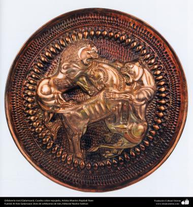 Iranian art (Qalamzani), Embossed copper Frame, Artist: Master Rajabali Raee – 132