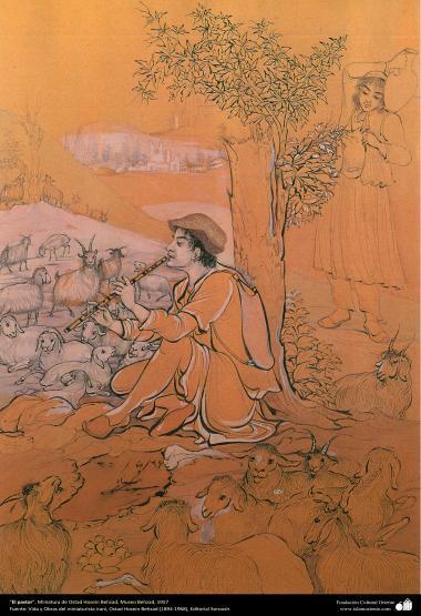 الفن الإسلامي - تحفة المنمنمات الفارسية - أستاذ حسين بهزاد - الراعي - 139
