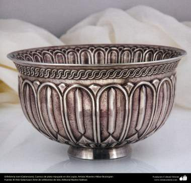 Iranian art (Qalamzani), Embossed silver bowl in two layers, Artist: Master Akbar Bozorgian – 146