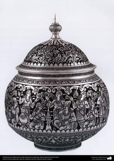 Orfebrería iraní (Qalamzani), Vasija de plata con grabados, Artista: Maestro Hossein Dalvi - 156