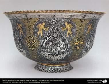 Orfebrería iraní (Qalamzani), Vasija de plata con grabados y enchapes en oro, Artista: Maestro Ali Saee -165