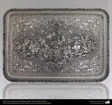 Iranian art (Qalamzani), The carved silver tray, Artist: Master Ali Saee -167