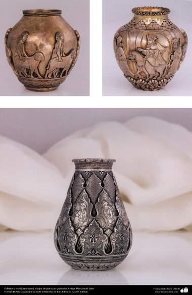 Orfebrería iraní (Qalamzani), Vasijas de plata con grabados, Artista: Maestro Ali Saee -170