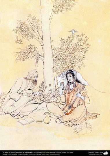La joven del setar (instrumento de tres cuerdas), Miniatura de Ostad Hosein Behzad, Colección privada, USA, 1965 - 172