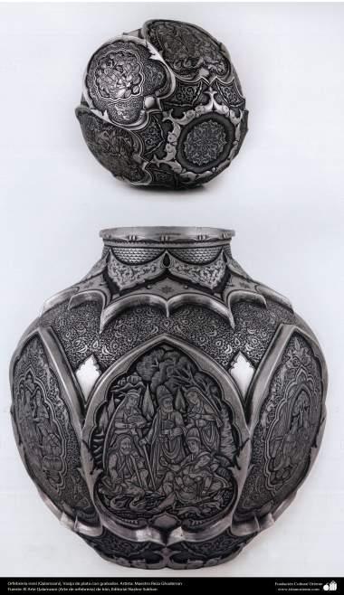 Orfebrería iraní (Qalamzani), Bandeja de plata con remates de oro, Artista: Maestro Reza Ghaderran -172