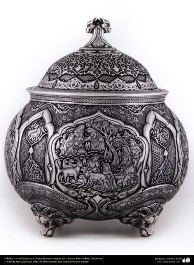Iranian art (Qalamzani), Silver embossed vase with gold rivets, Artist: Master Reza Ghaderran -173