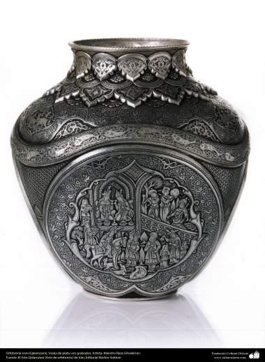 Orfebrería iraní (Qalamzani), Vasija de plata con grabados. Artista: Maestro Reza Ghaderran -178