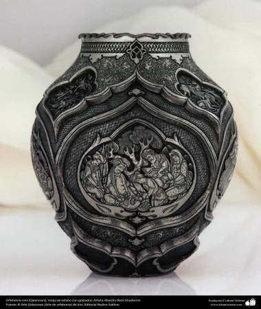Iranian art (Qalamzani), The carved tin pot, Artist: Master Reza Ghaderran -185