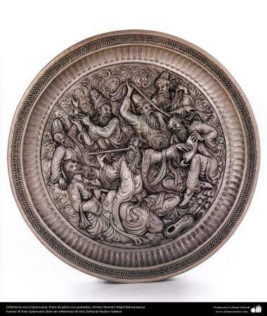 Ourivesaria iraniana (Qalamzani), Vaso de prata com gravura. Artista: Mestre  Majid Bahramipour - 188