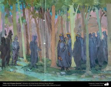 Visita real al bosque (boceto), Miniatura de Ostad Hosein Behzad, Museo Behzad - 187