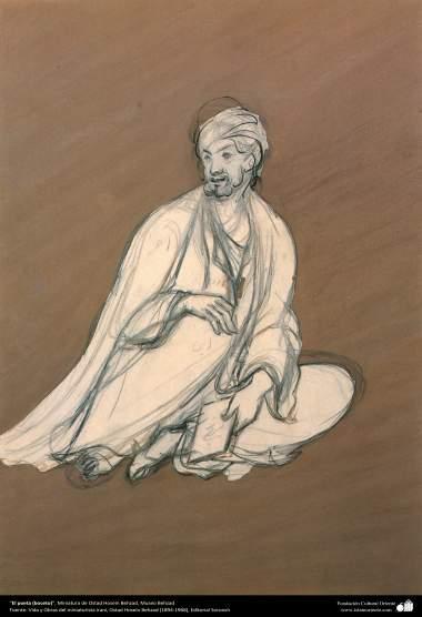 El poeta (boceto), Miniatura de Ostad Hosein Behzad, Museo Behzad -190