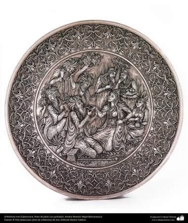 هنر ایرانی (قلم زنی)، بشقاب نقره ای حکاکی شده، اثر استاد مجید بهرامی پور- 192