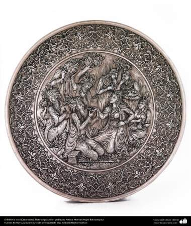 Orfebrería iraní (Qalamzani), Plato de plata con grabados. Artista: Maestro Majid Bahramipour -192