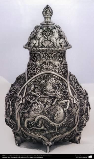 Orfebrería iraní (Qalamzani), Vasija de plata con grabados. Artista: Maestro Majid Bahramipour -193