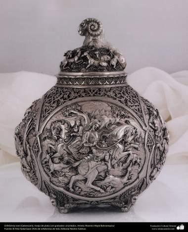 Ourivesaria iraniana (Qalamzani), Vaso de prata com gravura esculpidas. Artista: Mestre Majid Bahramipour - 199