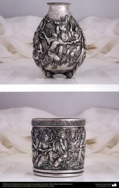 هنر ایرانی (قلم زنی)، ظروف نقره ای حکاکی شده، اثر استاد مجید بهرامی پور- 200