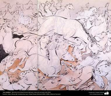 Los caballos, Miniatura de Ostad Hosein Behzad, Colección privada USA,1953 -200