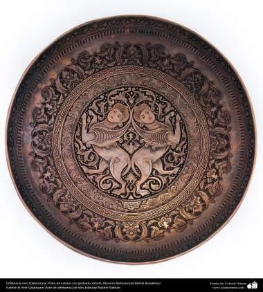 Iranian art (Qalamzani), Tin plate with engraving, Artist: Master: Mohammad Mahdi Babakhani