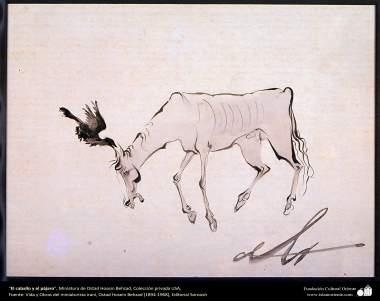 """Arte islamica-Il maestro Hosein Behzad- """"Il cavallo e l'uccello""""-214"""