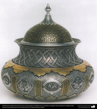 Ourivesaria iraniana (Qalamzani), peça de uma vasilha de prata com detalhes em gravados em ouro e caligrafia, Artista: Maestro H. Alaghemandan - 31