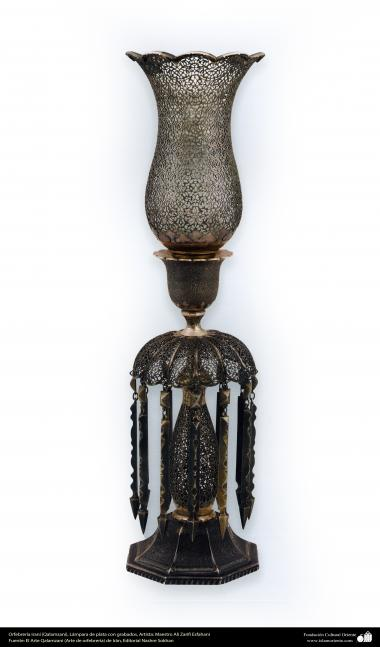 Ourivesaria iraniana (Qalamzani), Candelabro de prata gravado - 57