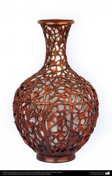 Art iranien - estampage(Ghalam zani) - Pichet gravé avec de l'argent -58