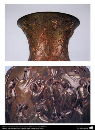 Art iranien - estampage(Ghalam zani) -les détails d'une vase en cuivre et en relief-60