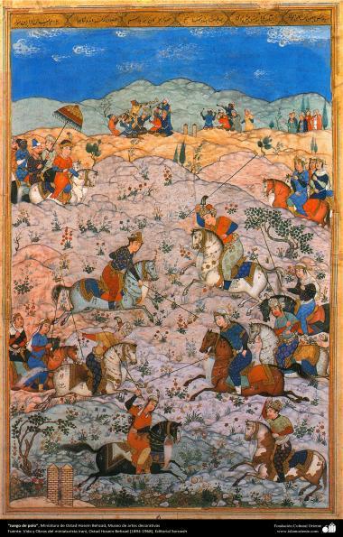 الفن الإسلامي - المنمنمات الفارسية - أستاذ حسين بهزاد -71 مباراة بولو