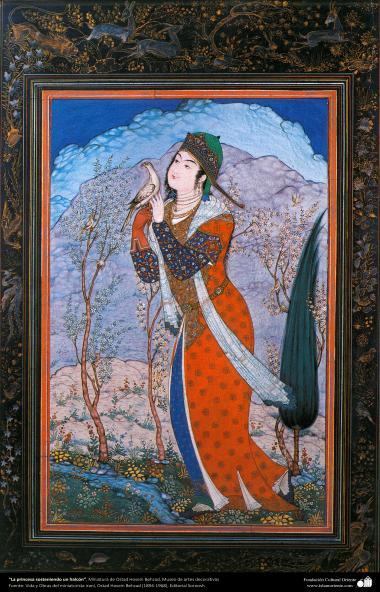 """""""A princesa segurando um falcão"""" - Miniatura de Ostad Hossein Behzad, Museu de artes decorativas - 75"""