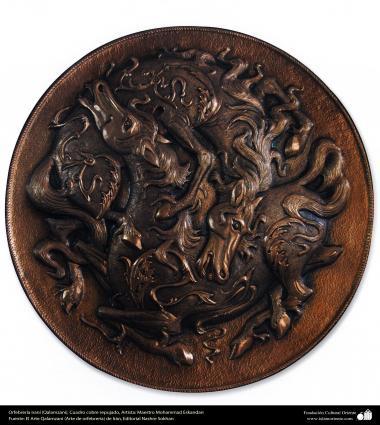 """Иранское искусство - Гравировка металла, """"Галам Зани"""" (тиснение) - Медная лошадь - 80"""