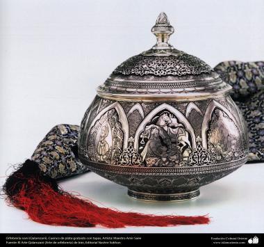 """Иранское искусство - Гравировка металла, """"Галам Зани"""" (тиснение) - Серебряная ваза для аджиля - 94"""